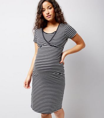 Maternity Black Stripe Nursing T-Shirt Dress