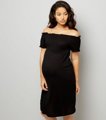 Maternity Black Shirred Bardot Neck Dress