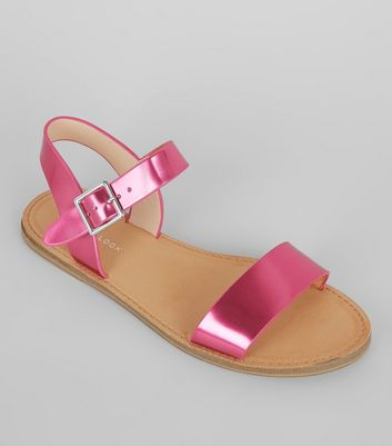 Bright Pink Metallic Sandals