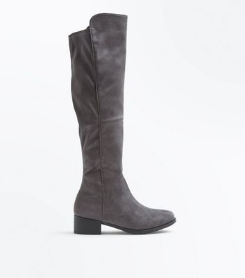 Teens Grey Suedette Knee High Boots