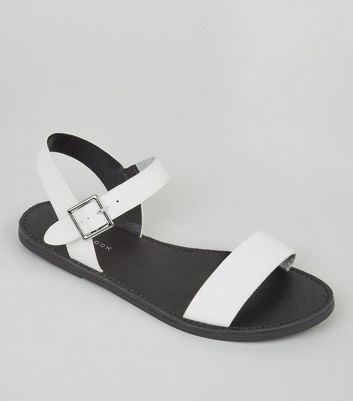 White Flat Ankle Strap Sandals