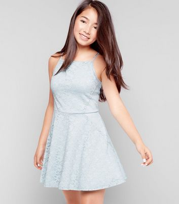 Pale Blue Mesh Panel Lace Dress