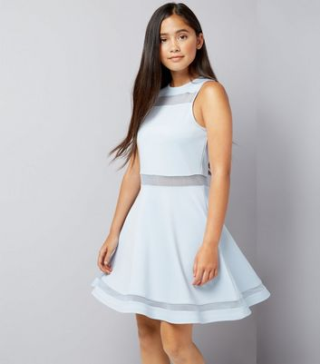 Teens Blue Mesh Insert Skater Dress