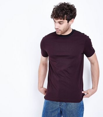 Dark Red Stripe Side T-Shirt