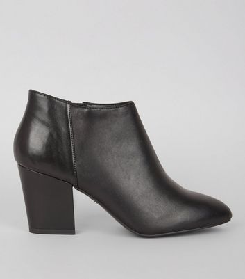 Black Leather Block Heel Shoe Boots