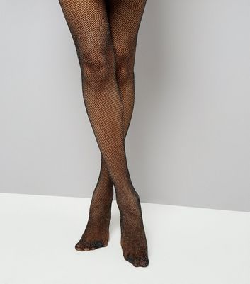 Black Glitter Fishnet Tights