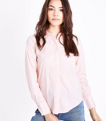 Shell Pink Curved Hem Shirt