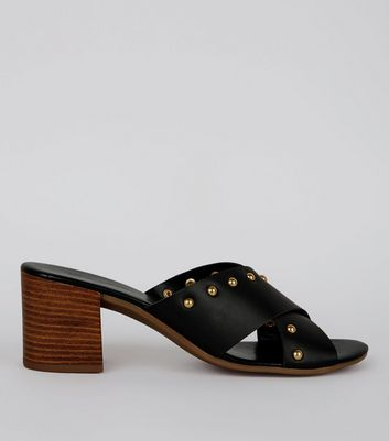 Black Cross Strap Stud Detail Mules