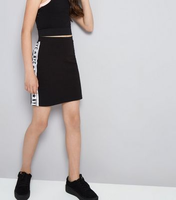 Teens Black NYC Side Stripe Tube Skirt