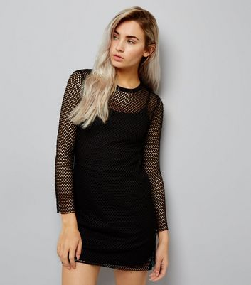 Petite Black Mesh Bodycon Dress