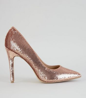 Rose Gold Sequin Pointed Court Heels