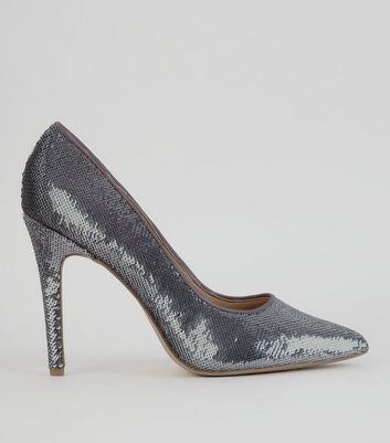 Silver Sequin Pointed Court Heels