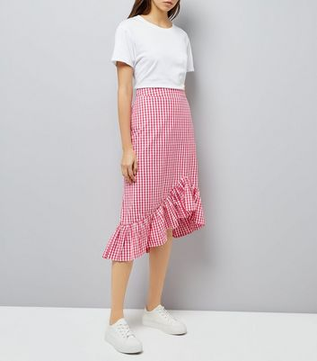 Pink Gingham Frill Trim Midi Skirt