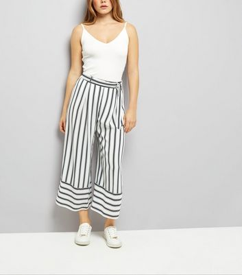 White Tie Waist Stripe Cropped Trousers