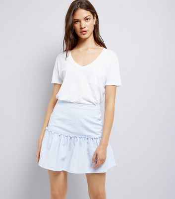 Blue Frill Trim Mini Skirt
