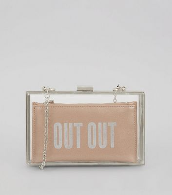 Pink Perspex 2 in 1 'Out Out' Slogan Clutch Bag
