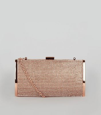 Rose Gold Diamante Clutch