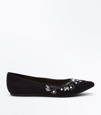Wide Fit Black Suedette Floral Embellished Pointed Pumps