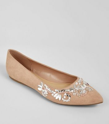 Wide Fit Suedette Nude Pink 3D Embroidered Pumps