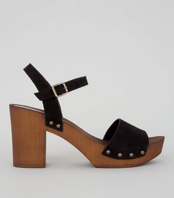 Black Suede Wooden Platform Block Heeled Clogs