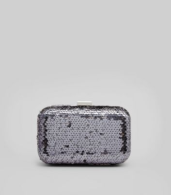 Purple Sequin Box Clutch
