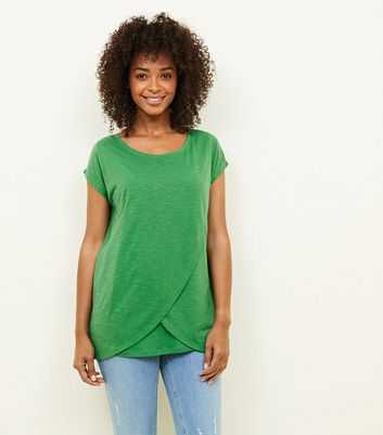 Maternity Green Wrap Front Nursing T-Shirt