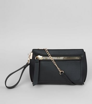 Black Zip Front Cross Body Bag