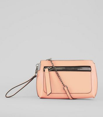 Peach Zip Front Cross Body Bag