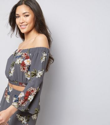 Cameo Rose Grey Floral Print Bardot Neck Crop Top