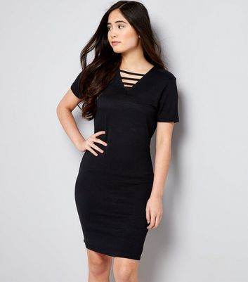 Teens Black Strap Front Bodycon Dress