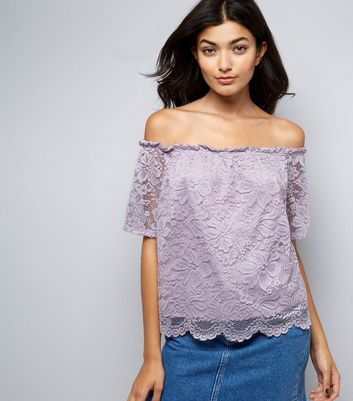 Purple Lace Sleeve Bardot Neck Top