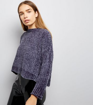 Blue Vanilla Dark Grey Chenille Knit Jumper