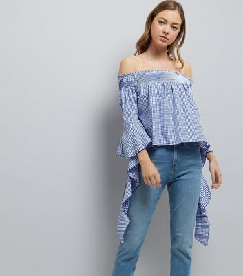 Blue Vanilla Blue Gingham Bardot Neck Top