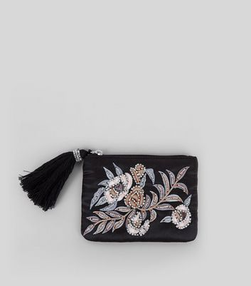 Black Floral Embellished Zip Top Purse
