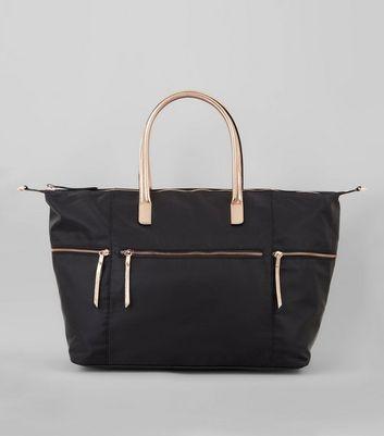 Black Luggage Tote Metallic Trim Bag