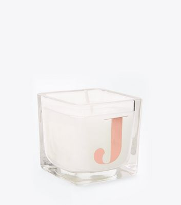 Rose Gold J Initial Candle