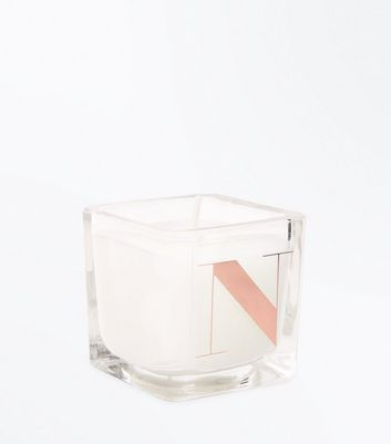 Rose Gold N Initial Candle