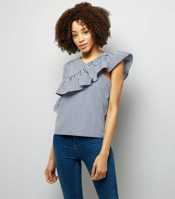 Pink Vanilla Navy Gingham Off the Shoulder Top