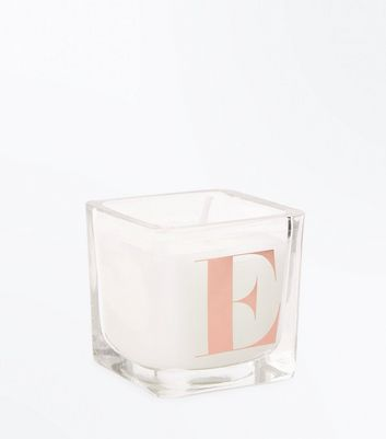 Rose Gold E Initial Candle