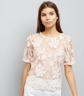 Pink 3D Leaf Floral Lace Top