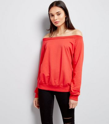 Red Bardot Neck Sweatshirt