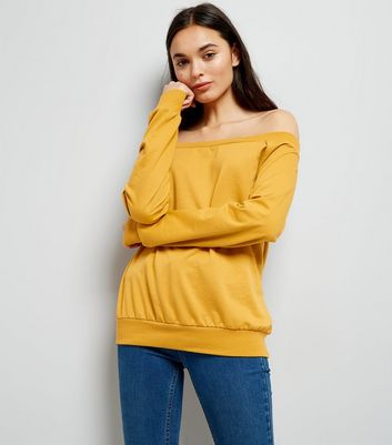 Yellow Bardot Neck Sweatshirt
