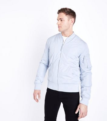 Pale Blue Matte Bomber Jacket