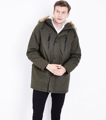 Khaki Fur Trim Hooded Parka