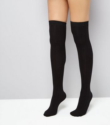 Black Over The Knee Ribbed Socks