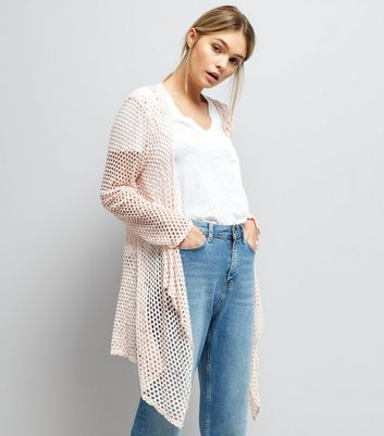 Mela Pink Crochet Waterfall Cardigan