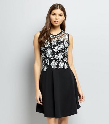 Mela Black Floral Lace Contrast Dress