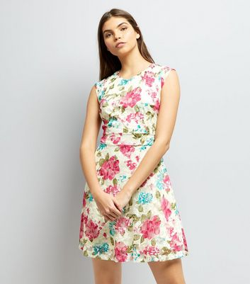 Mela Cream Floral Print Sleeveless Dress