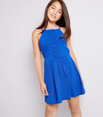 Teens Blue Lattice Front Skater Dress
