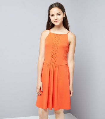 Teens Orange Lattice Front Skater Dress